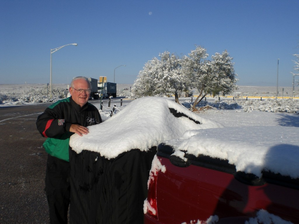 Bob checking out the snowy equipment
