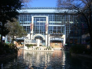 This is the end of the RiverWalk and also the sight of the San Antonio World's Fair