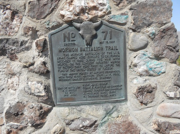 Plaque for the Mormon Battalion