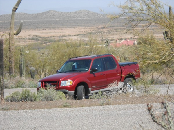 Our Sport Trac parked among the cactus.
