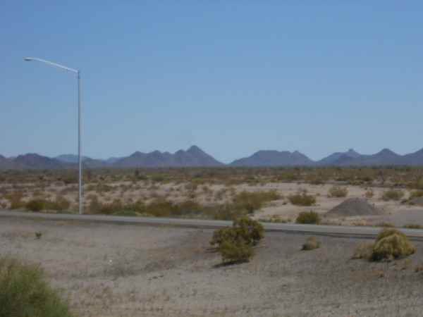 Looking towards the east on I 8 at Gila Bend.